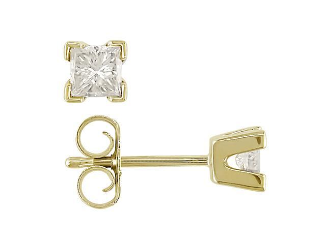 14K Yellow Gold 1/2 ctw Diamond Solitaire Earrings