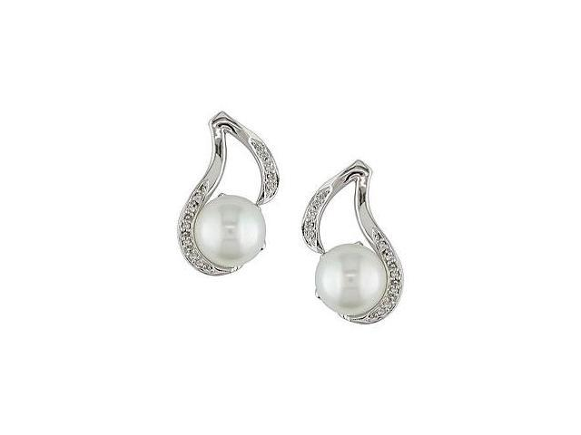 Sterling Silver Diamond and FW Pearl Earrings (9-10 mm)
