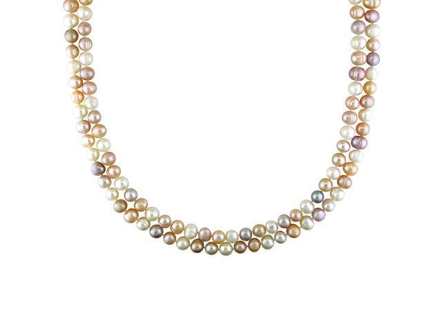 "64"" 7-8mm FW Natural Shape Multi-Pink (Pink/Peach/White) Pearl Endless Necklace"