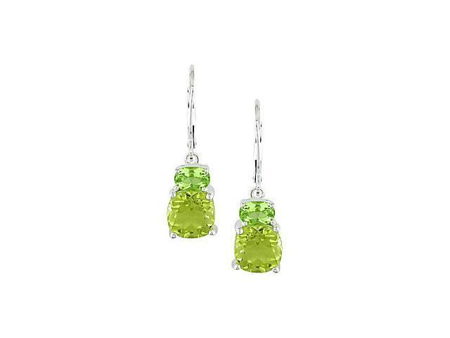 Amour Collections Sterling Silver Lemon Quartz and Peridot Earrings