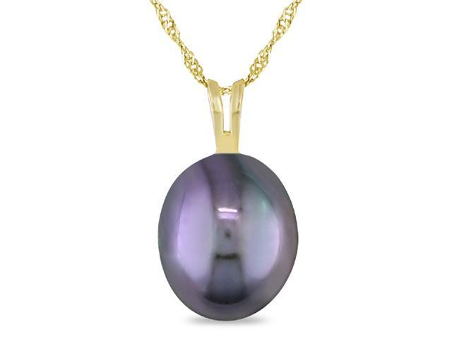 10K Yellow Gold 8-8.5mm Freshwater Rice Black Pearl Pendant w/ Chain