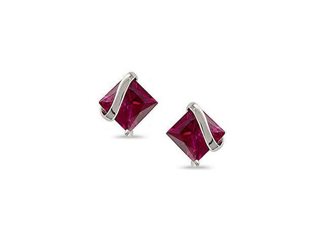 10k White Gold Square Created Ruby Earrings