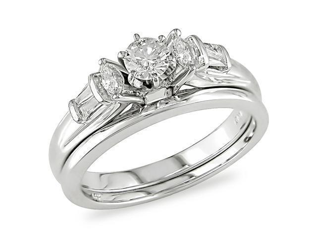 14K White Gold 1/2 ctw Diamond Wedding Band and Engagement Ring H-I-J,I1-I2