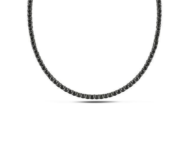 17'' Silver Black Rhodium plated Black Cubic Zirconia Necklace