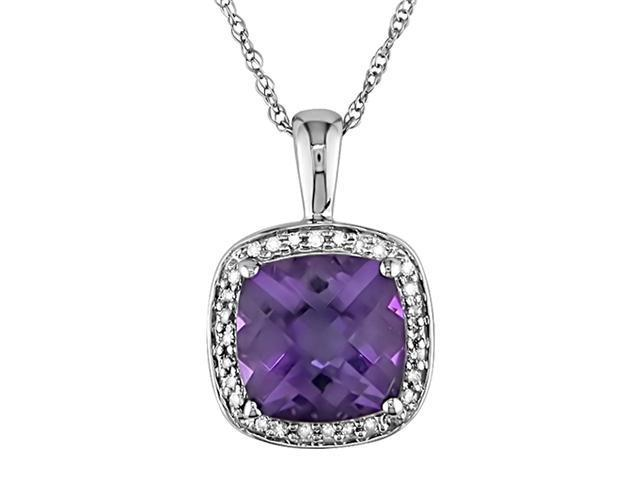 10K White Gold 1/10 ctw Diamond and Amethyst Square Pendant