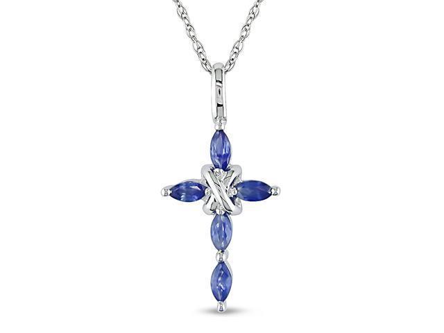 10K White Gold Sapphire Cross Pendant