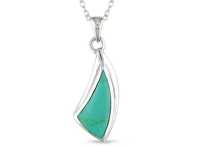 Irregular Turquoise Pendant in Silver, 18