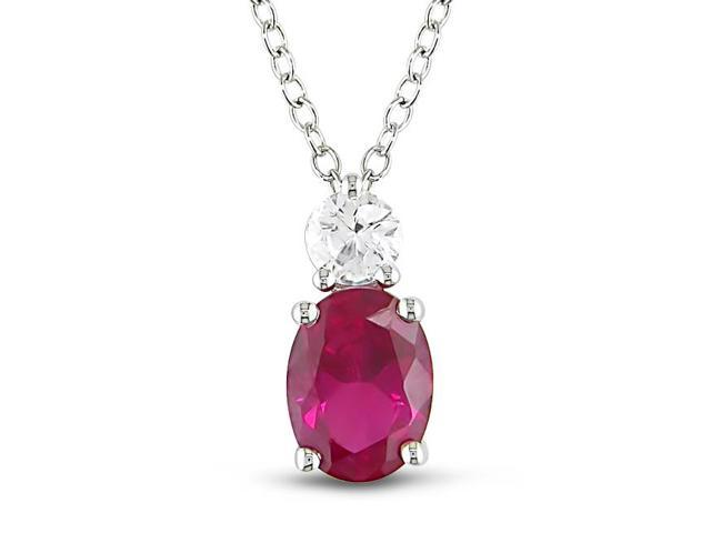 Amour Sterling Silver 2 1/3ct TGW Created Ruby and White Sapphire Pendant with Chain (18in)