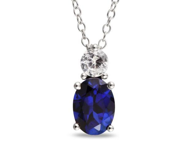 Amour Sterling Silver 2 1/3ct TGW Created Blue and White Sapphire Pendant with Chain (18in)