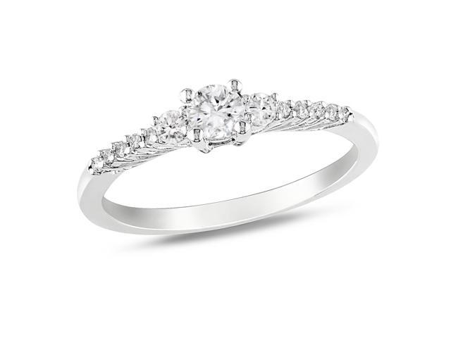 Amour Sterling Silver 1/3ct TGW Created White Sapphire and 0.05ct TDW Diamond Ring (H-I, I2-I3)