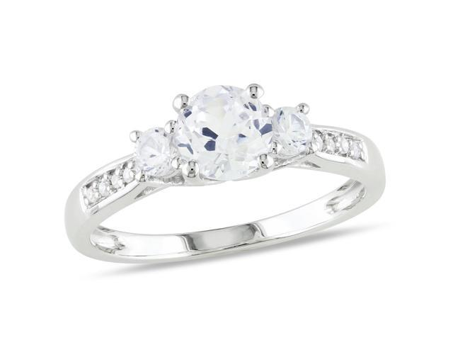 Amour 10k White Gold 1 1/3ct TGW Created White Sapphire and 0.05ct TDW Diamond Three Stone Ring (H-I, I2-I3)