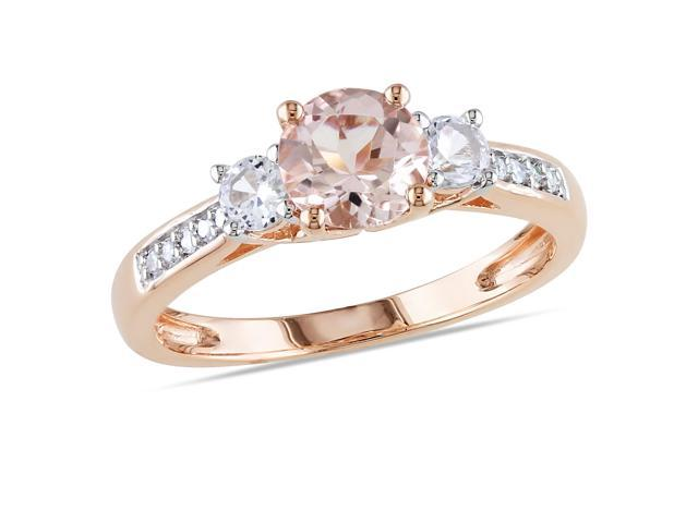 Amour 10k Rose Gold 1 1/6ct TGW Morganite and Created White Sapphire with 0.05ct TDW Diamond Ring (G-H, I1-I2)