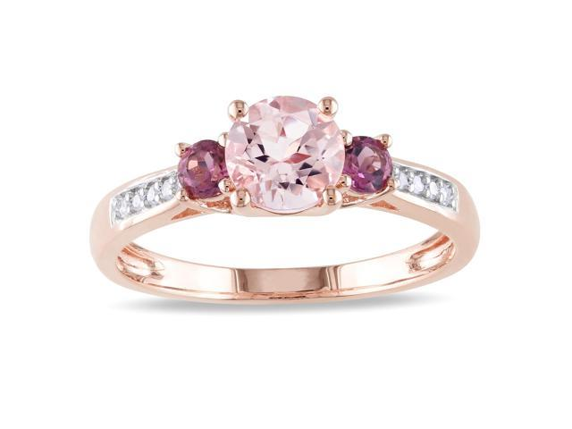 Amour 10k Rose Gold 1.05ct TGW Morganite and Pink Tourmaline with 0.05ct TDW Three Stone Diamond Ring (G-H, I1-I2)