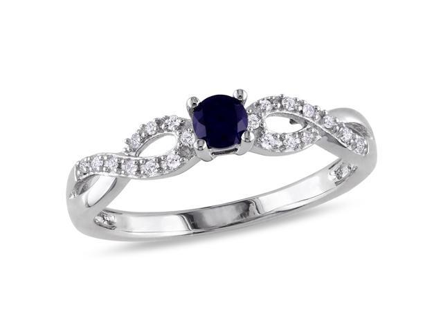 Amour Sterling Silver 1/5ct TGW Created Blue Sapphire and 1/10ct TDW Diamond Ring (H-I, I2-I3)