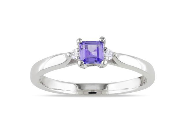 Amour Sterling Silver 1/3ct TGW Tanzanite and 0.04ct TDW Diamond Ring (H-I, I2-I3)