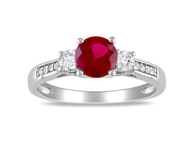 Amour 10k White Gold 1 1/3ct TGW Created Ruby and Created White Sapphire with 0.05ct TDW Diamond Three Stone Ring (H-I, I2-I3)