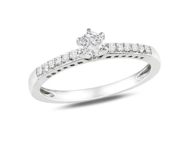 Amour Sterling Silver 1/4ct TGW Created White Sapphire and 0.06ct TDW Diamond Ring (H-I, I2-I3)