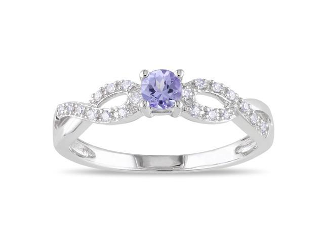 Amour Sterling Silver 1/6ct TGW Tanzanite and 1/10ct TDW Diamond Ring (H-I, I2-I3)