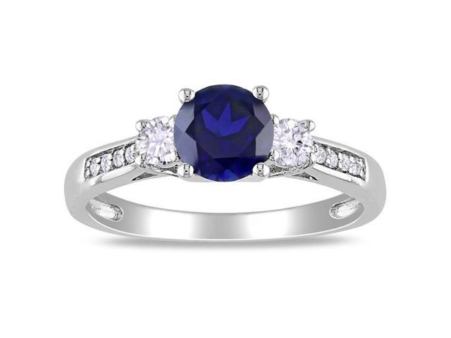 Amour 10k White Gold 1 1/3ct TGW Created Blue and White Sapphire with 0.05ct TDW Diamond Three Stone Ring (H-I, I2-I3)