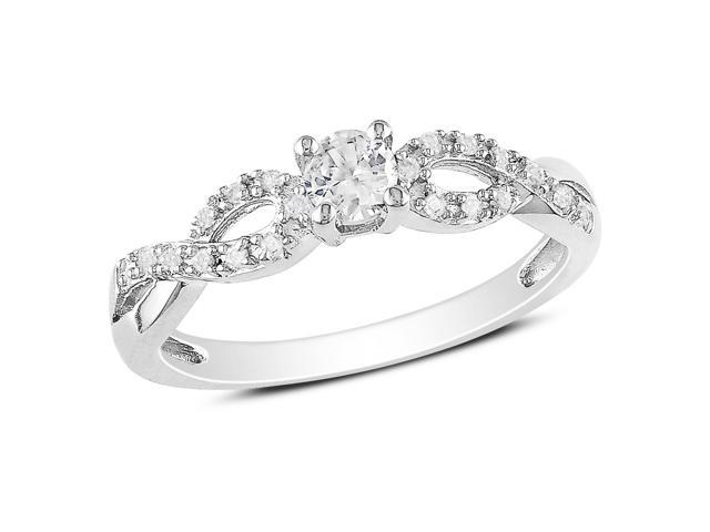 Amour Sterling Silver 1/4ct TGW Created White Sapphire and 1/10ct TDW Diamond Ring (H-I, I2-I3)