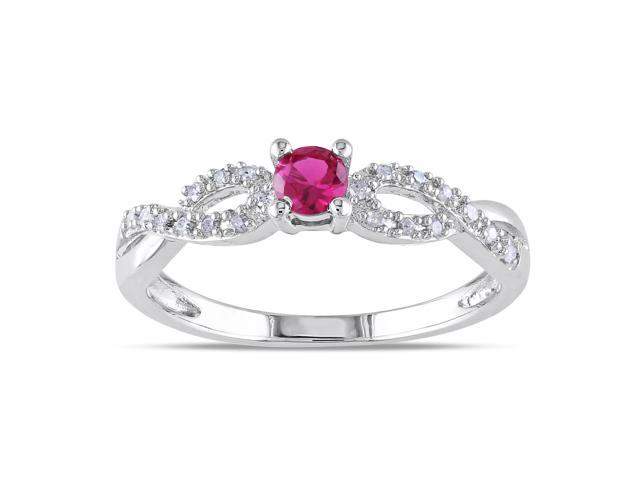 Amour Sterling Silver 1/5ct TGW Created Ruby and 1/10ct TDW Diamond Ring (H-I, I2-I3)