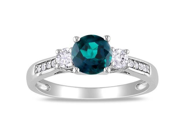 Amour 10k White Gold 1 1/8ct TGW Created Emerald and Created White Sapphire with 0.05ct TDW Diamond Three Stone Ring (H-I, I2-I3)