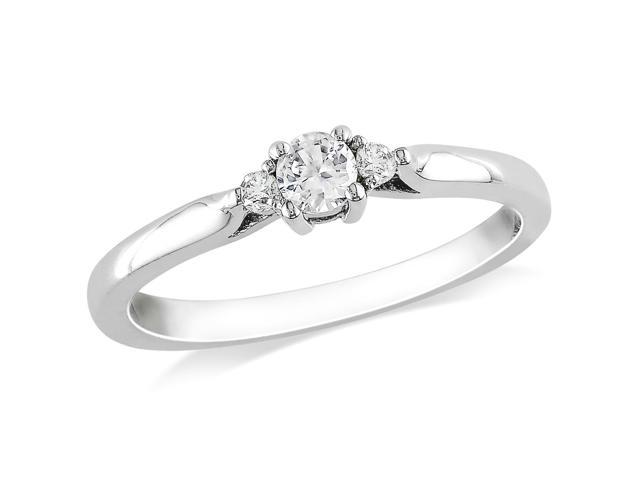 Amour Sterling Silver 1/4ct TGW Created White Sapphire and 0.04ct TDW Diamond Three Stone Ring (H-I, I2-I3)
