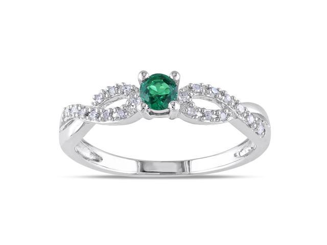 Amour Sterling Silver 1/10ct TGW Created Emerald and 1/10ct TDW Diamond Ring (H-I, I2-I3)