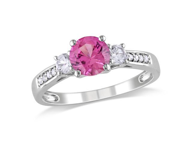 Amour 10k White Gold 1 3/8ct TGW Created Pink and White Sapphire with 0.05ct TDW Diamond Three Stone Ring (H-I, I2-I3)