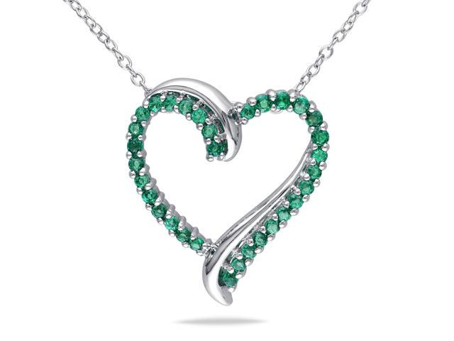 Amour Sterling Silver 1/2 CT TGW Created Emerald Heart Pendant with Chain (18 in)