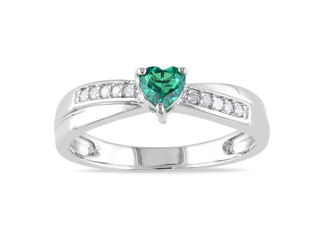 Amour Sterling Silver 1/4ct TGW Created Emerald with 0.05ct TDW Diamond Ring (G-H, I2-I3)