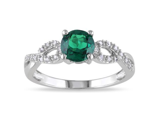 Amour 10k White Gold 4/5ct TGW Created Emerald with 1/10ct TDW Diamond Ring (G-H, I1-I2)