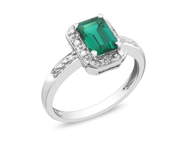 Amour 10k White Gold 7/8ct TGW Created Emerald with 0.06ct TDW Diamond Ring (G-H, I2-I3)
