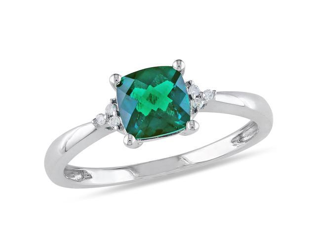 Amour 10k White Gold 1ct TGW Created Emerald with 0.024ct TDW Diamond Ring (H-I, I2-I3)