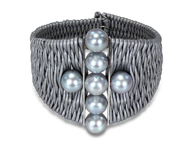 Amour Freshwater Grey Pearl with Two Silver Bars in Grey Leather Cord Wire Bracelet ( 9-10 mm) (7 in)