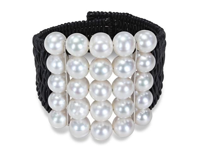 Amour Freshwater White Pearl with Two Silver Bars in Black Leather Cord Wire Bracelet (9-10 mm) (7 in)