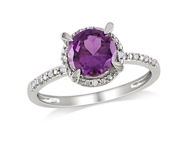 Amour 10k White Gold 1.6ct TGW Created Alexandrite and 0.05ct TDW Diamond Ring (G-H, I2-I3)