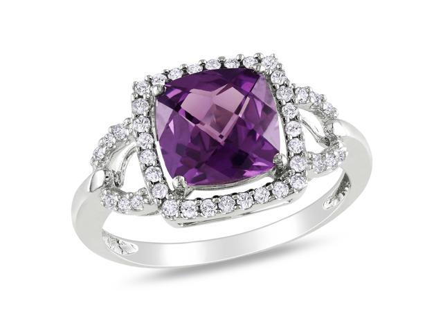 Amour 10k White Gold 2.8ct TGW Created Alexandrite and 0.2ct TDW Diamond Ring (G-H, I2-I3)