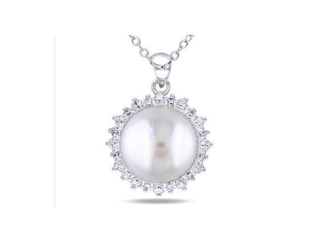 Amour Sterling Silver Freshwater Pearl and White Topaz Pendant with Chain (11-12mm) (18in)