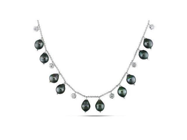 Amour Sterling Silver Tahitian Pearl and Cubic Zirconia Necklace (9-9.5mm) (18in)