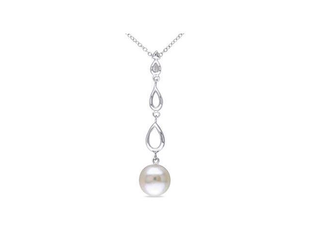 Amour Sterling Silver Freshwater Pearl Pendant with Chain (10-11mm) (18in)
