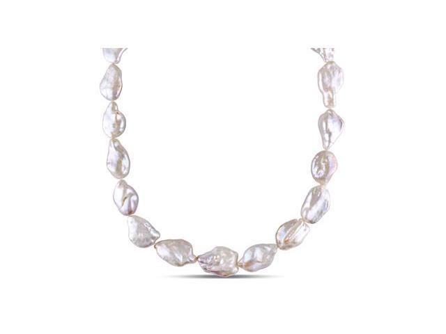 Amour Sterling Silver Freshwater Pearl Necklace (14.5-15mm) (18in)