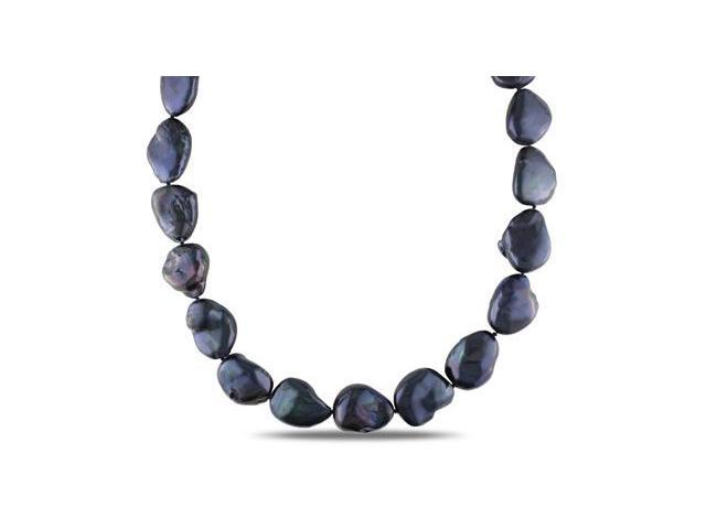 Amour Sterling Silver Freshwater Black Pearl Necklace (15-15.5mm) (18in)