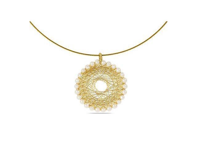 Amour Gold Copper Wire Freshwater White Pearl Pendant (4-5mm) (18in)
