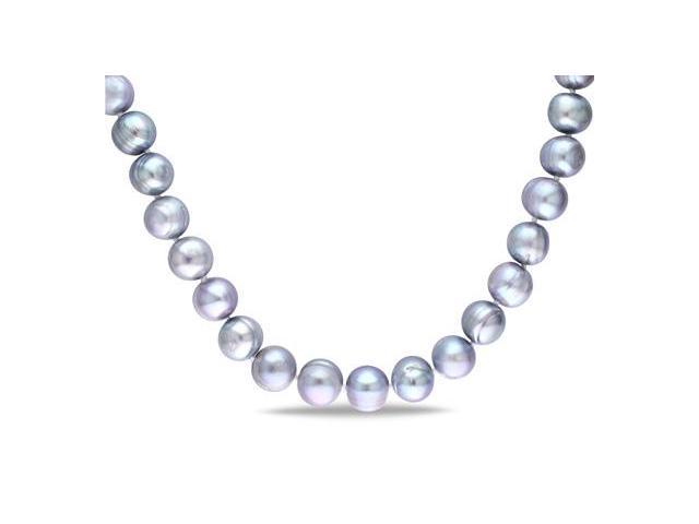 Amour Sterling Silver Freshwater Grey Pearl Necklace (12-12.5mm) (18in)