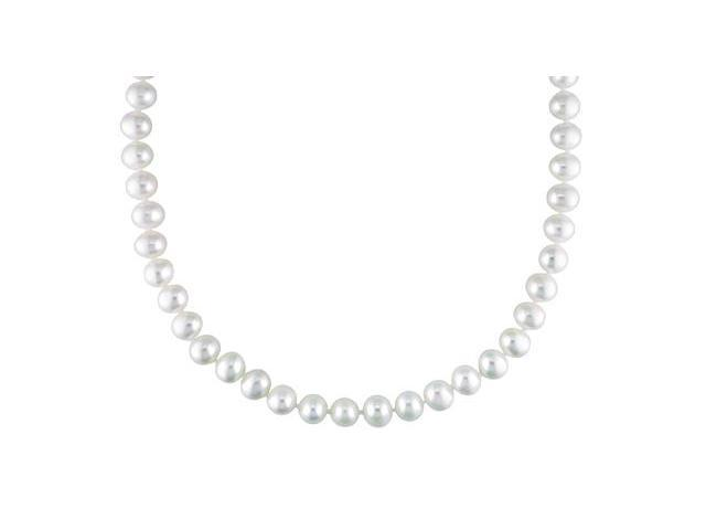 Amour Sterling Silver White Pearl Necklace (6.5-7mm) (18in)