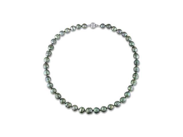 Amour 14k White Gold Tahitian Black Pearl Necklace (8-11mm) (17in)