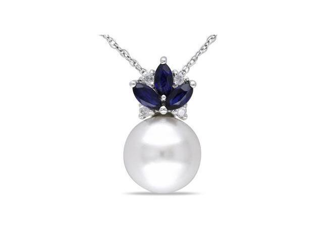 Amour 10k White Gold Freshwater White Pearl and 0.33ct TGW Sapphire with 0.03ct TDW Diamond Pendant with Chain (G-H, I2-I3) (8.5-9mm) (17in)