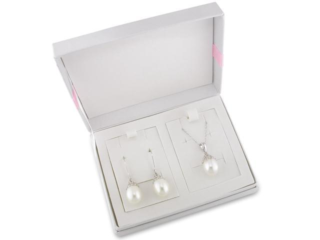 Amour Silvertone Freshwater White Pearl Set of Hook Earrings and Pendant with Chain (9.5-10mm)