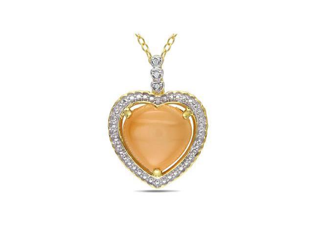 Amour Yellow Plated Silver 6ct TGW Orange Moonstone and 0.015ct TDW Diamond Heart Pendant with Chain (G-H, I3) (18in)